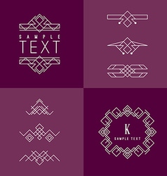 Frame and Design Elements Mono Line Geometric vector image vector image