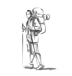 line sketch of a mountain tourist vector image
