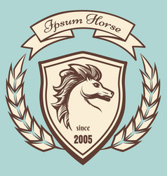 medieval coat of arms with horse vector image