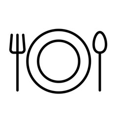 plate fork and spoon line icon restaurant sign vector image vector image