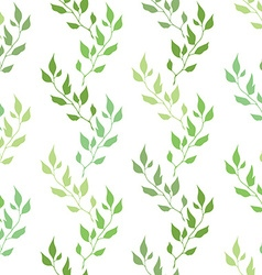 Seamless green spring pattern with olive leaves vector