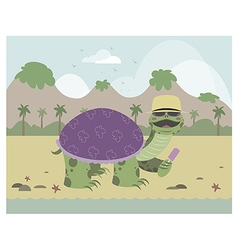 Turtle on a beach eating ice cream vector image