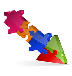 3d puzzle jigsaw arrow vector