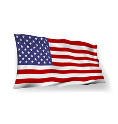 3d usa flag with shadow in the wind vector image