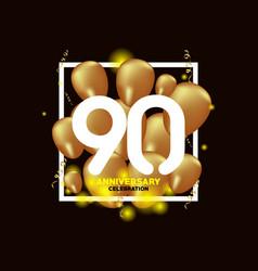 90 year anniversary white gold balloon template vector