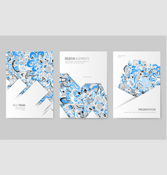Abstract brochure cards set print art vector
