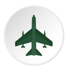 aircraft with missiles icon circle vector image