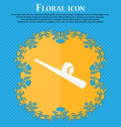 Baseball icon Floral flat design on a blue vector image