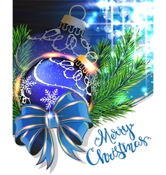 Blue bow and Christmas bauble vector image vector image