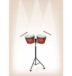 Bongo with Stand on Brown Stage Background vector image
