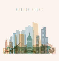 buenos aires skyline detailed silhouette vector image