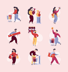buyers in shop supermarket characters with basket vector image