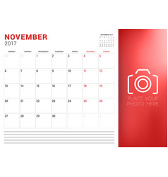Calendar planner template for november 2017 week vector