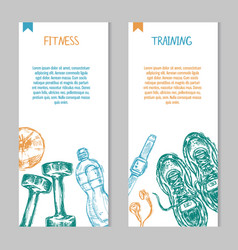 cards with sport and fitness hand drawn items vector image