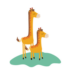 cartoon giraffe mom with calf over grass in vector image