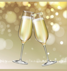 champagne glass on holiday golden background vector image