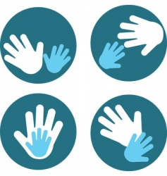 children and parent hands vector image