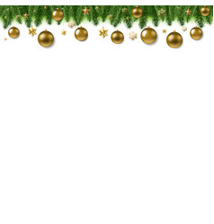 christmas fur tree border with ball vector image