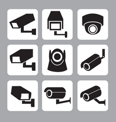 Collection of cctv and security camera icon vector