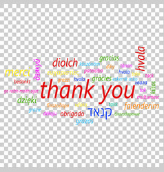 colorful thank you in many languages icon global vector image