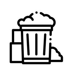 Container with rubbish trash thin line icon vector
