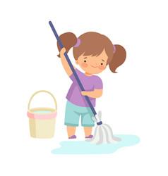 Cute girl washing floor with bucket and mop vector
