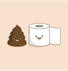 Cute smiling happy funny poop and toilet paper vector