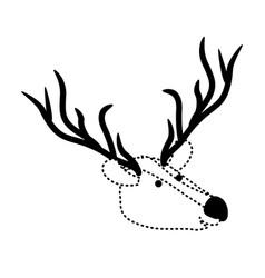 deer cartoon head in black dotted silhouette vector image