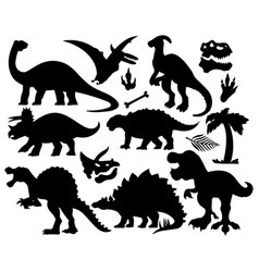 dinosaurs shadow set collection design vector image