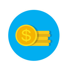 dollar money coins stack vector image
