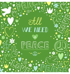 Doodle green love and peace theme background with vector