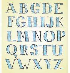 doodle hand drawn sketch alphabet vector image