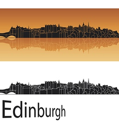 Edinburgh skyline in orange background vector image