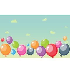 Festive balloons background with sky and clouds vector