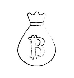 Figure bag with bitcoin currency digital symbol vector