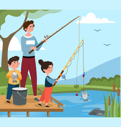 Fishing with children concept vector