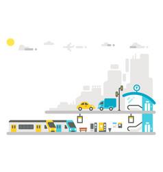 Flat design railway station vector