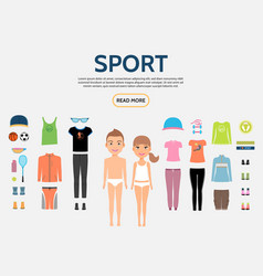 flat fitness characters constructor concept vector image