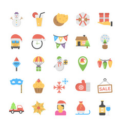 flat icons set of christmas celebrations vector image