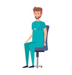 General practitioner sitting in office chair vector
