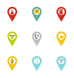 gps pins icon set flat style vector image