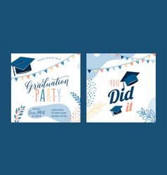 Graduation party background light invite vector