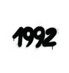 graffiti 1992 date sprayed in black over white vector image