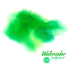 green abstract hand drawn watercolor vector image