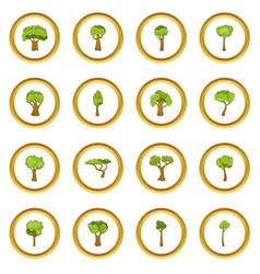 Green trees icons circle vector