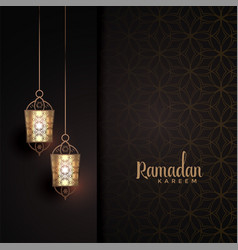 Hanging lanterns with text space for ramadan vector