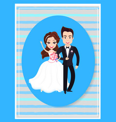 happy people on wedding day cute bride and groom vector image