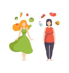 Healthy food vs unhealthy food fat and slim woman vector