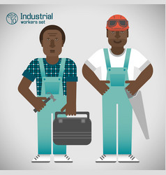 industrial african workmen set vector image