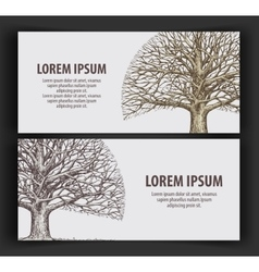 Leafless tree ecology nature banner hand-drawn vector